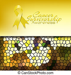 Cancer Survivorship Awareness with abstract mosaic...