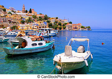 Colorful Greek islands - Colorful harbor district of the...
