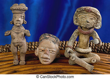 antiquité, pré, Colombien, figures,