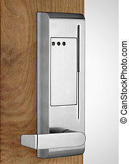 Electronic lock on wooden door - Electronic badge lock on...