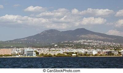 View of coastal city from sailing ship - Panorama of coastal...
