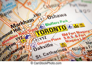Toronto City on a Road Map - Map Photography: Toronto City...