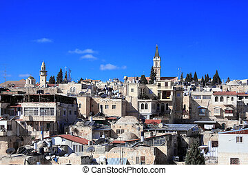 Roofs of Old City with Holy Sepulcher Chirch Dome, Jerusalem...