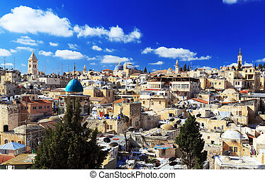 Roofs of Old City with Holy Sepulcher Chirch Dome,...