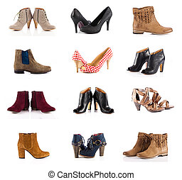 female footwear. female shoes over white. Collection of...