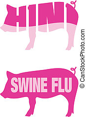 Swine flu H1N1 icons