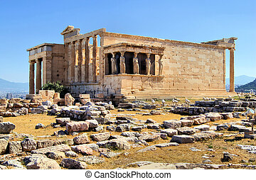 Ancient Greece - Athens acropolis - Erechtheion with Porch...