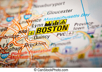 Boston City on a Road Map - Map Photography: Boston City on...
