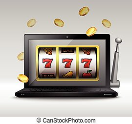 Online gambling concept with laptop and slot machine handle...