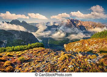 View of the Cadini di Misurina range from Monte Piana in...