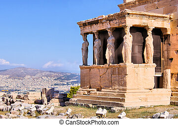 Ancient Greece - Famous ancient Porch of the Caryatids...
