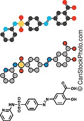 Sulfasalazine drug molecule Used in treatment of rheumatoid...