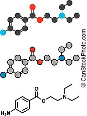 Procaine topical anesthetic drug molecule. Stylized 2D...