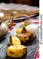 Grilled pineapple - pineapple slices grilled served with ice...