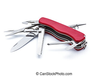 Swiss army knife isolated - Swiss army multipurpose...