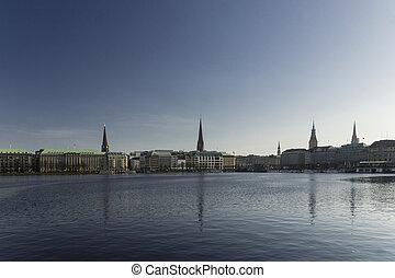 Jungfernstieg and Alster - The Skyline around the...
