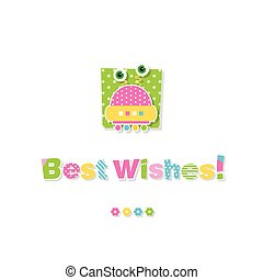 cute baby robot best wishes card - illustration of big-eyed...