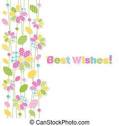 best wishes flowery greeting card - illustration of colorful...