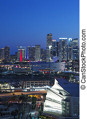 Miami downtown by night - Vertical view of Miami downtown by...