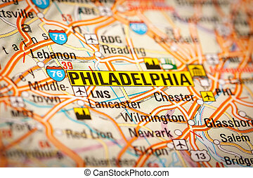 Philadelphia, City on a Road Map - Map Photography:...