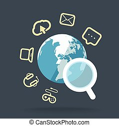Searching information concept with magnifying glass