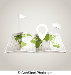 World map with different marks. Design elements