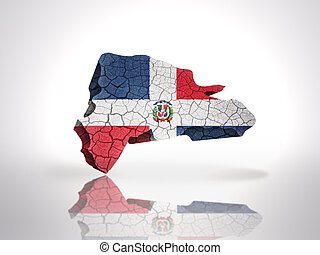 Map of Dominican Republic with Dominican Flag on a white...