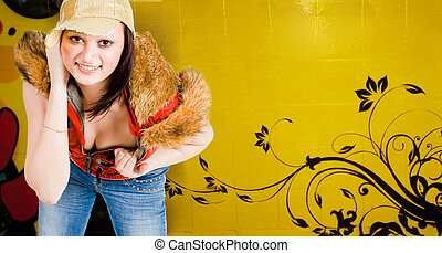 hip hop girl and graffiti - hip hop girl standing with...