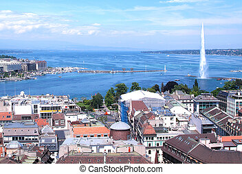 The city of Geneva, the Leman Lake and the Water