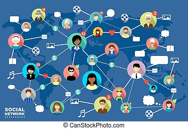 Social Networks. Internet communication. vector - The...