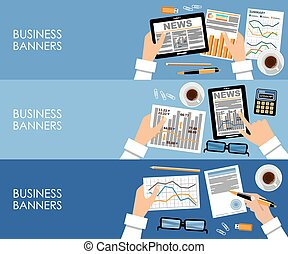 Business banners in flat style design. vector