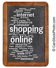 shopping online word cloud on a vintage slate blackboard...