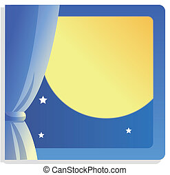 moon - Moon at midnight , windows with curtains,used as...