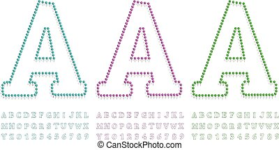 green, blue and pink pushpin letters and numbers