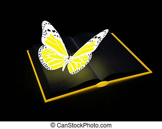 butterfly on a book on a black background