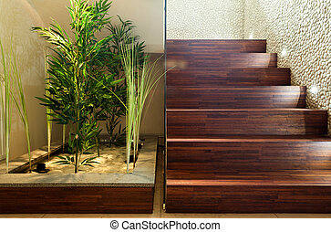 Beauty plants in hall and wooden stairs