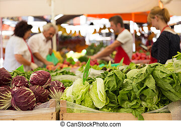Vegetable market stall. - Market stall with variety of...