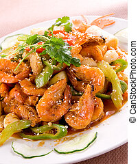 Chinese food - Cooked shrimps - Chinese food - shrimps...