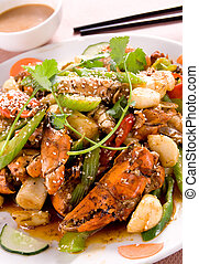 Chinese food - shrimps stir-fried with celery
