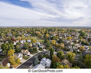 Colorado houses aerial view - aerial view of Fort Collins...