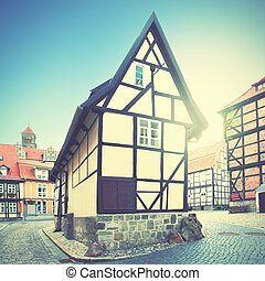 Old house in Quedlinburg, Germany. Retro style filtred