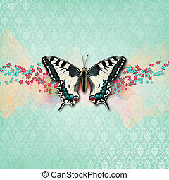 Vintage shabby chic background with butterfly