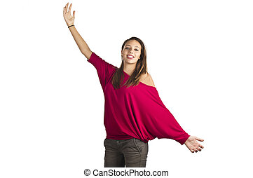 young girl jumping happy with open arms