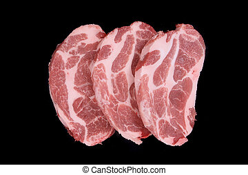 raw steaks isolated on the black background