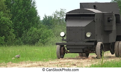Armored car in the field. The first world war. Shot in 4K...