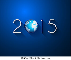 Original 2015 flat style new year modern background with 3D...