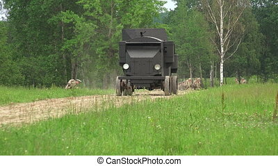 Armored car in the field. The first world war.