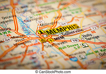 Memphis City on a Road Map - Map Photography: Memphis City...