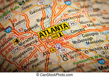 Atlanta City on a Road Map - Map Photography: Atlanta City...