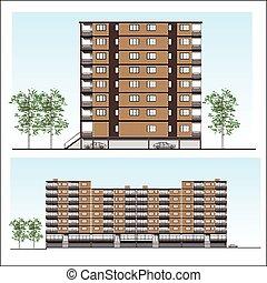 Facade of Habitation building, vector